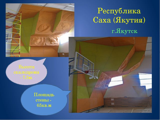 Республика Саха (Якутия) г.Якутск Высота скалодрома - 7.5м. Площадь стены - 6...