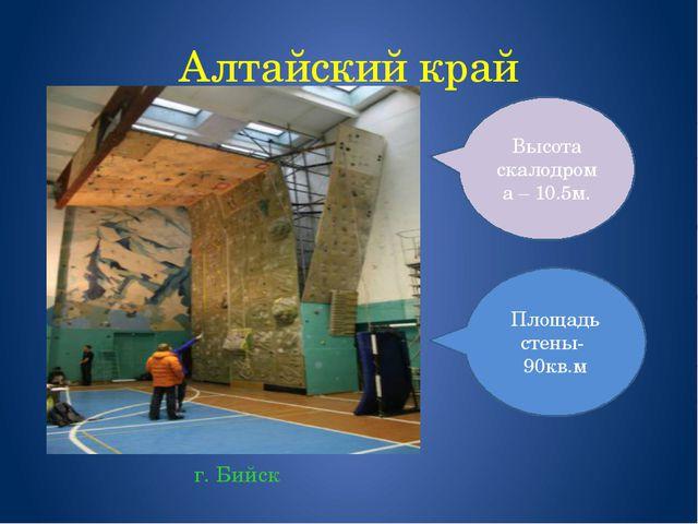Алтайский край г. Бийск Площадь стены- 90кв.м Высота скалодрома – 10.5м.