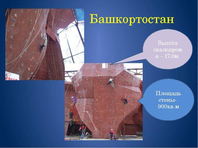 Башкортостан г. Уфа Площадь стены- 900кв.м Высота скалодрома – 17.0м.