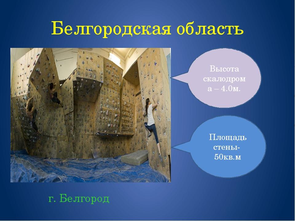 Белгородская область г. Белгород Площадь стены- 50кв.м Высота скалодрома – 4....