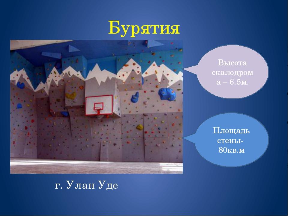 Бурятия г. Улан Уде Площадь стены- 80кв.м Высота скалодрома – 6.5м.
