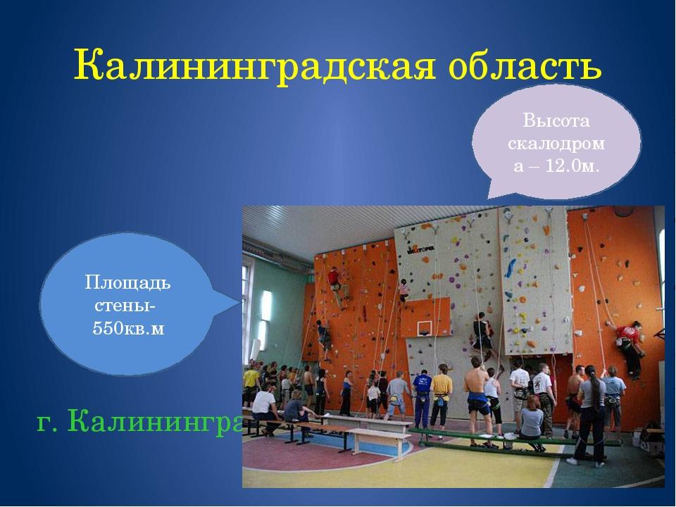 Калининградская область г. Калининград Площадь стены- 550кв.м Высота скалодро...