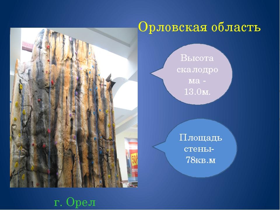 Орловская область г. Орел Площадь стены- 78кв.м Высота скалодрома - 13.0м.