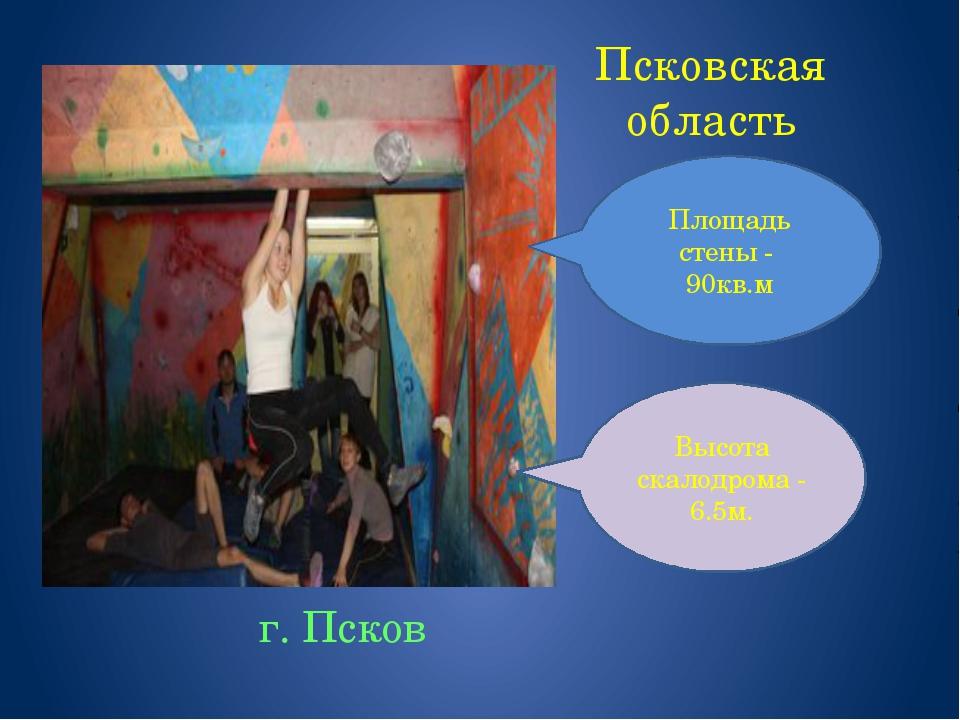 Псковская область г. Псков Площадь стены - 90кв.м Высота скалодрома - 6.5м.
