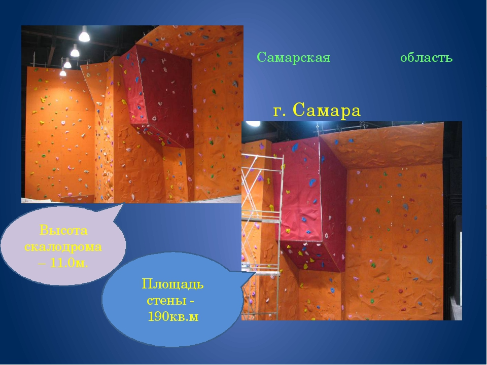 Самарская область г. Самара Высота скалодрома – 11.0м. Площадь стены - 190кв.м
