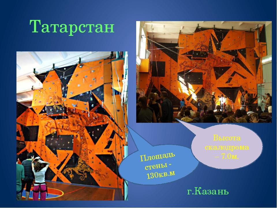 Татарстан г.Казань Площадь стены - 130кв.м Высота скалодрома – 7.0м.