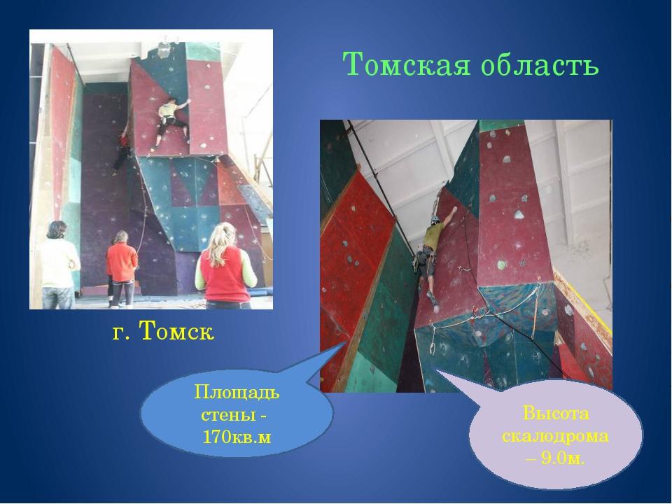 Томская область г. Томск Высота скалодрома – 9.0м. Площадь стены - 170кв.м