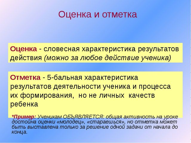 Оценка и отметка Отметка - 5-бальная характеристика результатов деятельности...