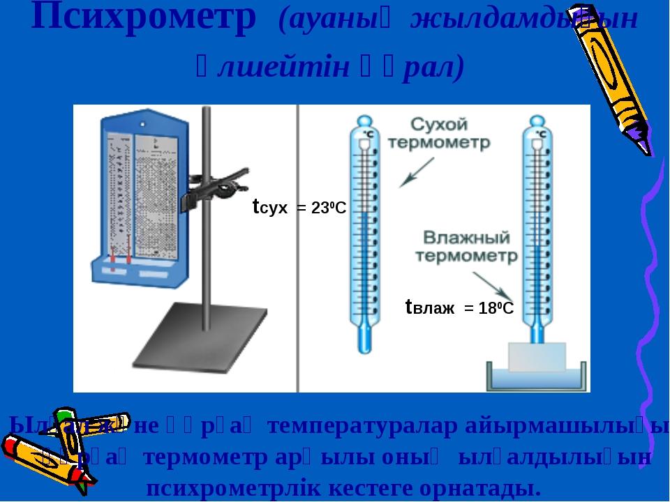 Психрометр (ауаның жылдамдығын өлшейтін құрал) Ылғал және құрғақ температурал...