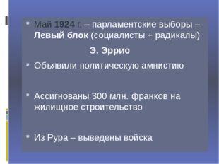 Май 1924 г. – парламентские выборы – Левый блок (социалисты + радикалы)
