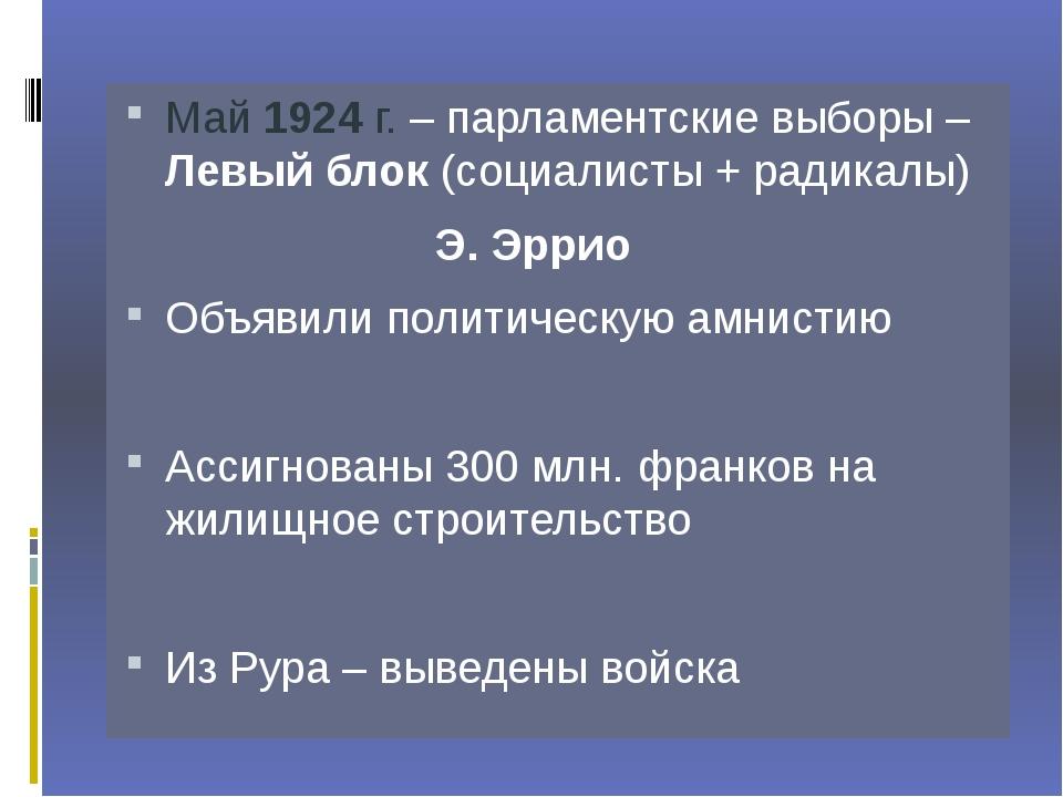 Май 1924 г. – парламентские выборы – Левый блок (социалисты + радикалы)...