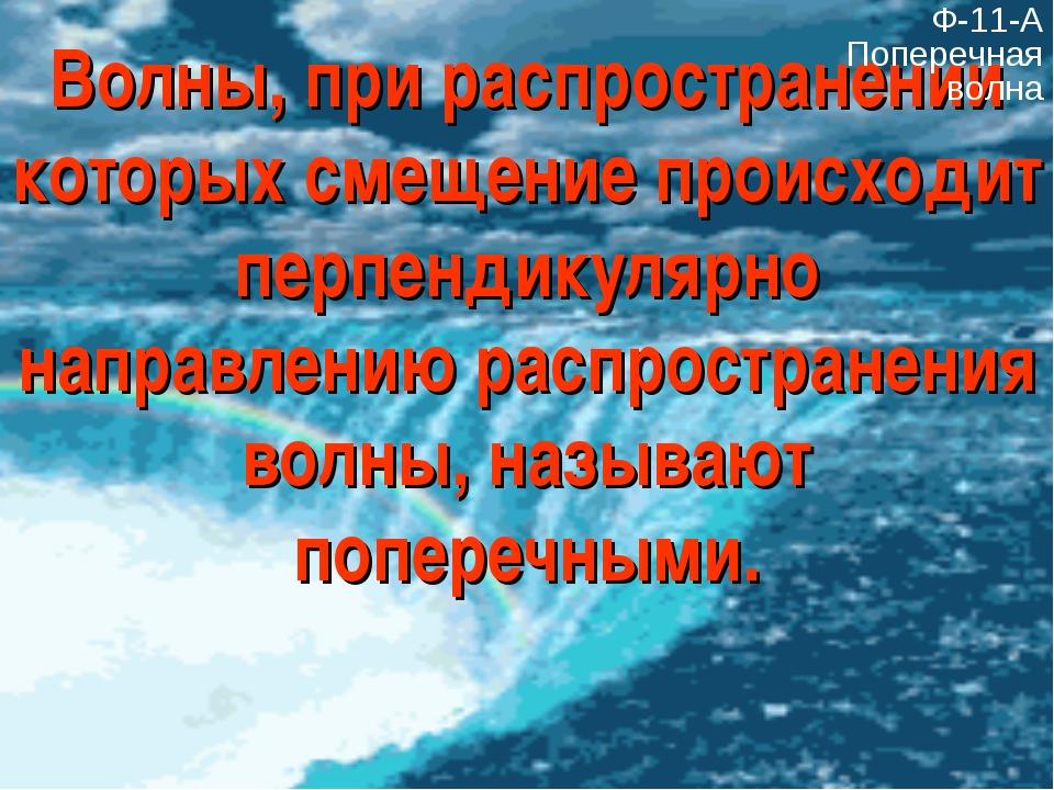 Волны, при распространении которых смещение происходит перпендикулярно направ...