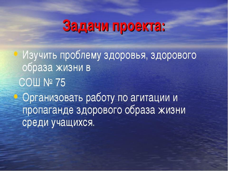 Задачи проекта: Изучить проблему здоровья, здорового образа жизни в СОШ № 75...