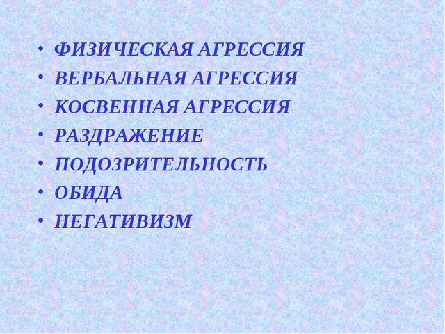 ФИЗИЧЕСКАЯ АГРЕССИЯ ВЕРБАЛЬНАЯ АГРЕССИЯ КОСВЕННАЯ АГРЕССИЯ РАЗДРАЖЕНИЕ ПОДОЗР...