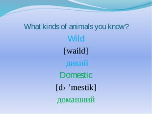 What kinds of animals you know? Wild [waild] дикий Domestic [də'mestik] домаш