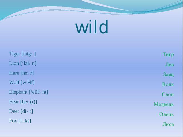 wild Tiger [taigə] Lion ['laiən] Hare [heər] Wolf [wʊlf] Elephant ['elifənt]...