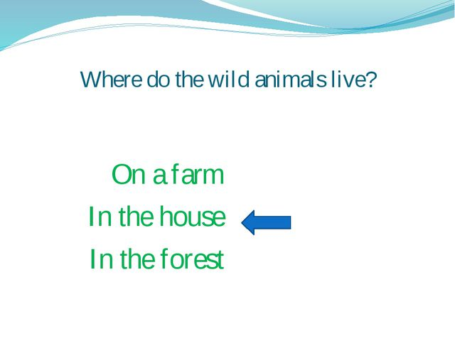 Where do the wild animals live? On a farm In the house In the forest