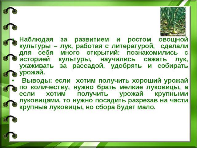 Наблюдая за развитием и ростом овощной культуры – лук, работая с литературой,...