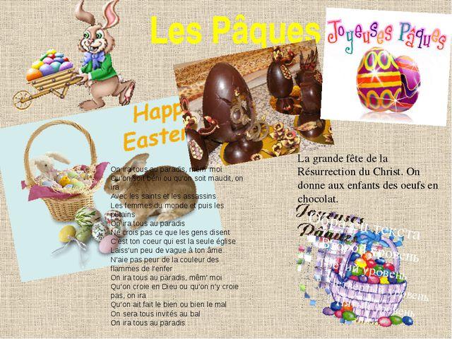 Les Pâques La grande fête de la Résurrection du Christ. On donne aux enfants...
