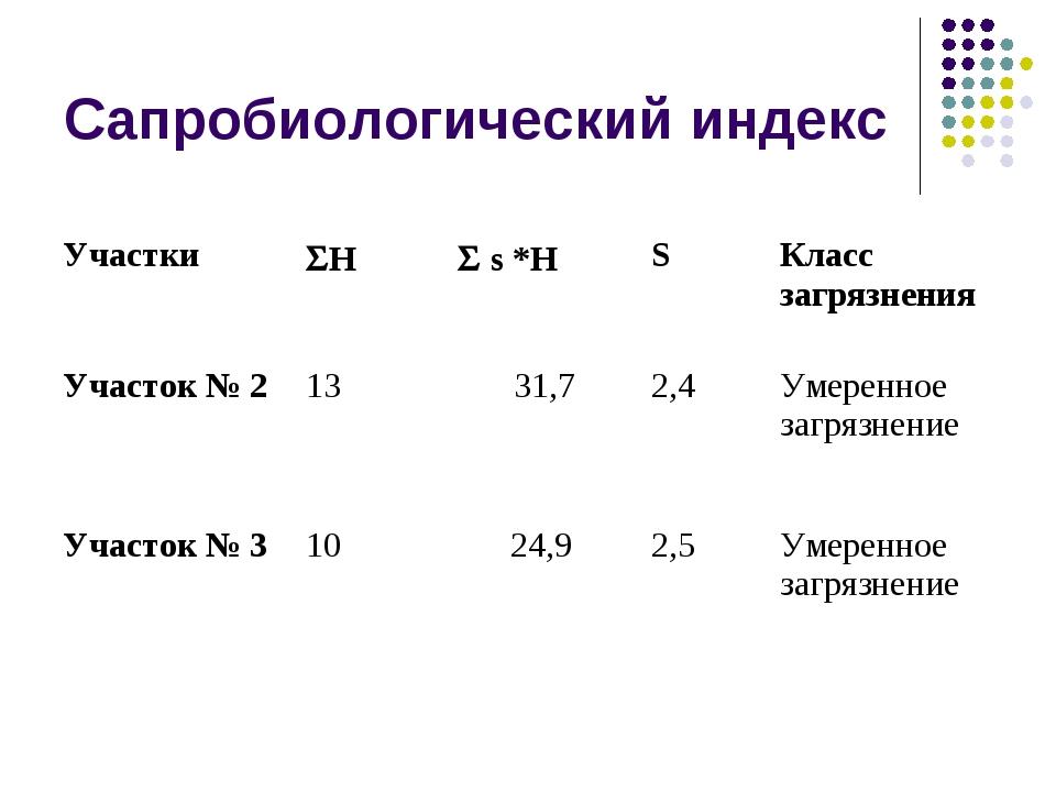 Сапробиологический индекс УчасткиH s *HSКласс загрязнения Участок № 21...