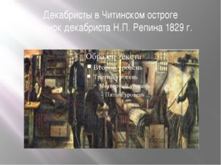 Декабристы в Читинском остроге Рисунок декабриста Н.П. Репина 1829 г.