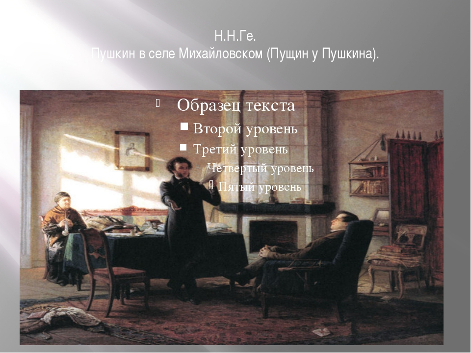 Н.Н.Ге. Пушкин в селе Михайловском (Пущин у Пушкина).