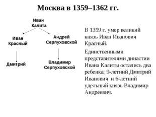 Москва в 1359–1362 гг. Иван Калита В 1359 г. умер великий князь Иван Иванович