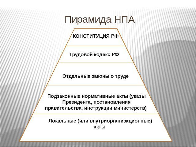 Пирамида НПА КОНСТИТУЦИЯ РФ Трудовой кодекс РФ Отдельные законы о труде Подза...