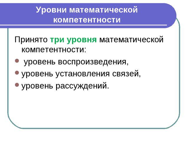 Уровни математической компетентности Принято три уровня математической компе...