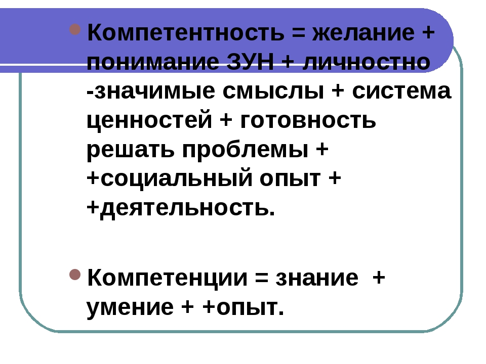 Компетентность = желание + понимание ЗУН + личностно -значимые смыслы + систе...