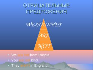 ОТРИЦАТЕЛЬНЫЕ ПРЕДЛОЖЕНИЯ We are not from Russia. You are not kind. They aren