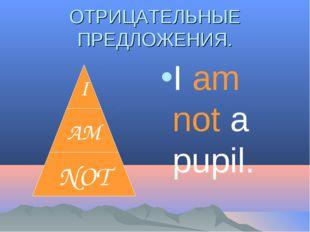 ОТРИЦАТЕЛЬНЫЕ ПРЕДЛОЖЕНИЯ. I am not a pupil.