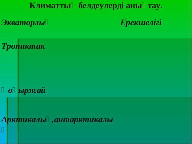 Климаттық белдеулерді анықтау. ЭкваторлықЕрекшелігі Тропиктик Қоңыржай Арк...