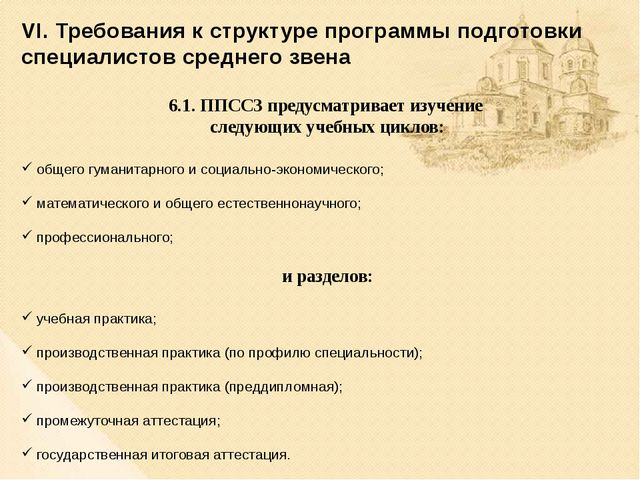 VI. Требования к структуре программы подготовки специалистов среднего звена 6...