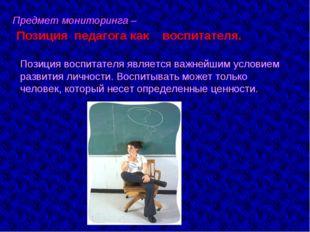 Предмет мониторинга – Позиция педагога как воспитателя. Позиция воспитателя я