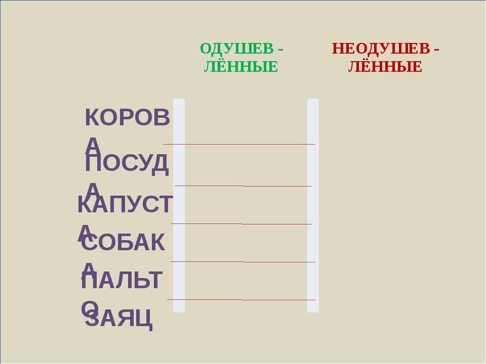 КОРОВА ПОСУДА КАПУСТА СОБАКА ПАЛЬТО ЗАЯЦ ОДУШЕВ - ЛЁННЫЕ НЕОДУШЕВ - ЛЁННЫЕ