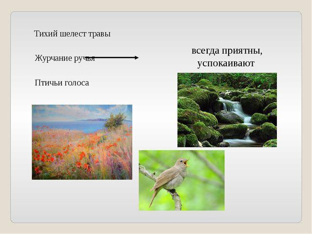 Тихий шелест травы Журчание ручья Птичьи голоса всегда приятны, успокаивают