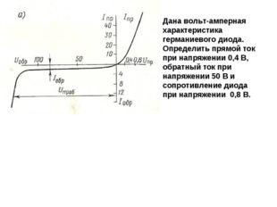0,5 Дана вольт-амперная характеристика германиевого диода. Определить прямой