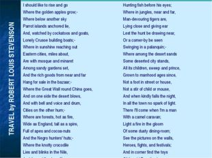 TRAVEL by ROBERT LOUIS STEVENSON I should like to rise and go Where the gold