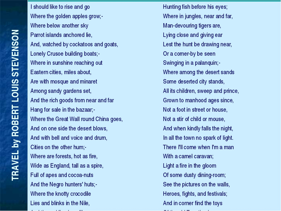 TRAVEL by ROBERT LOUIS STEVENSON I should like to rise and go Where the gold...