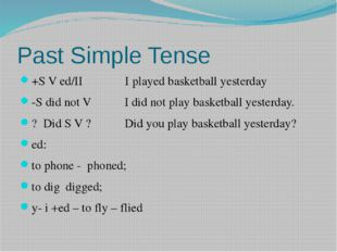 Past Simple Tense +S V ed/II I played basketball yesterday -S did not V I did