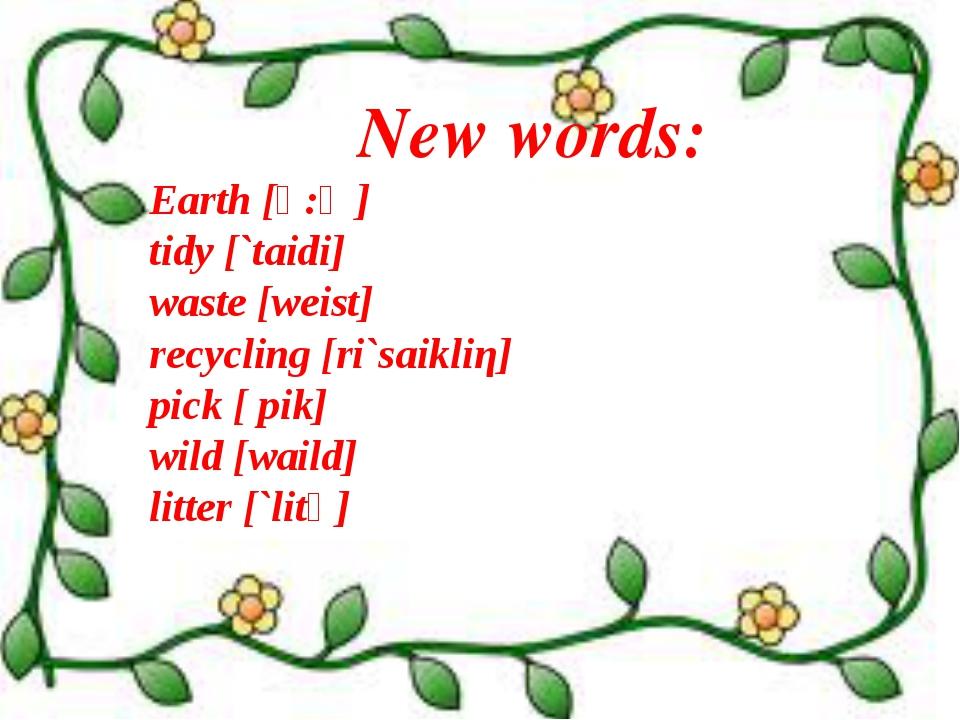 New words: Earth [ә:Ө] tidy [`taidi] waste [weist] recycling [ri`saikliη] pic...