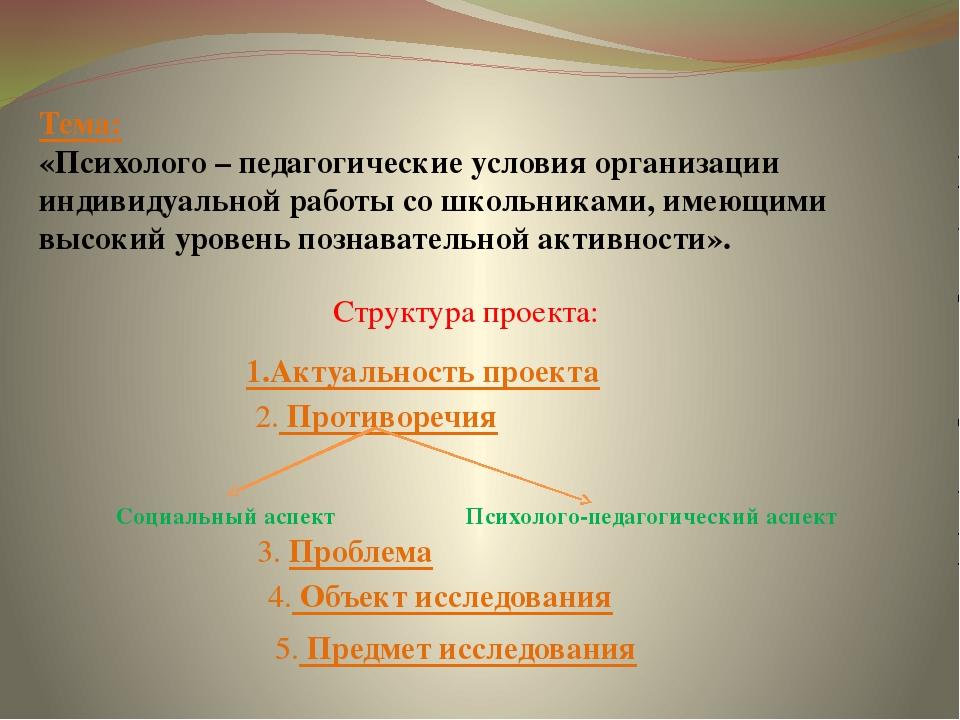 Тема: «Психолого – педагогические условия организации индивидуальной работы...