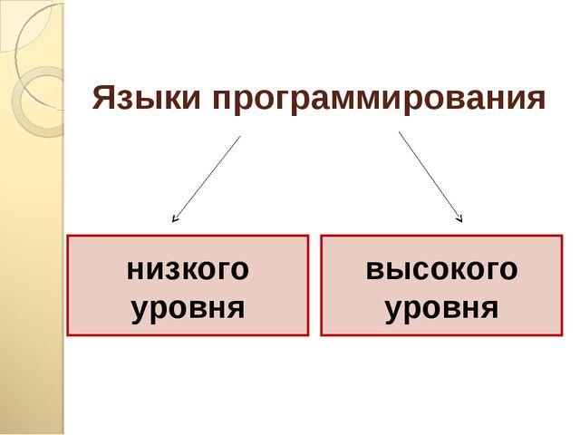 Языки программирования низкого уровня высокого уровня