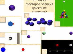 От каких факторов зависит движение шариков? 1 2 3 4 5 6 7 9 8