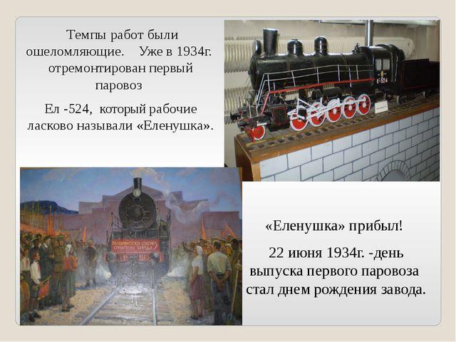 Темпы работ были ошеломляющие. Уже в 1934г. отремонтирован первый паровоз Ел...