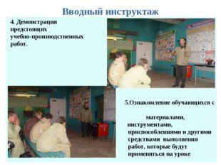 Вводный инструктаж 4. Демонстрация предстоящих учебно-производственных работ.