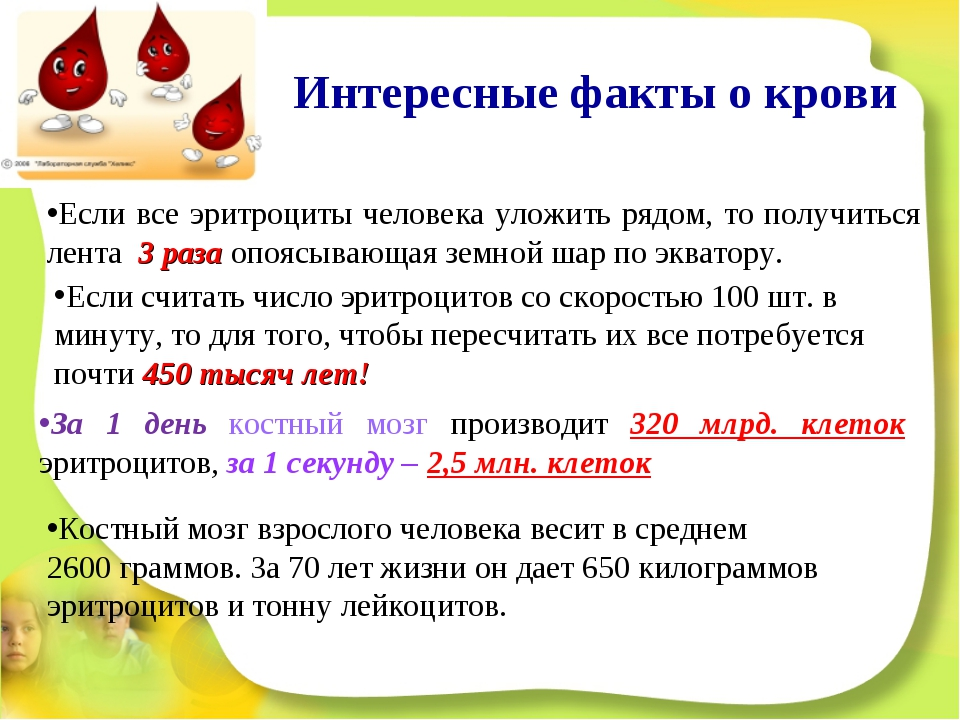 Интересные факты о крови Если все эритроциты человека уложить рядом, то получ...