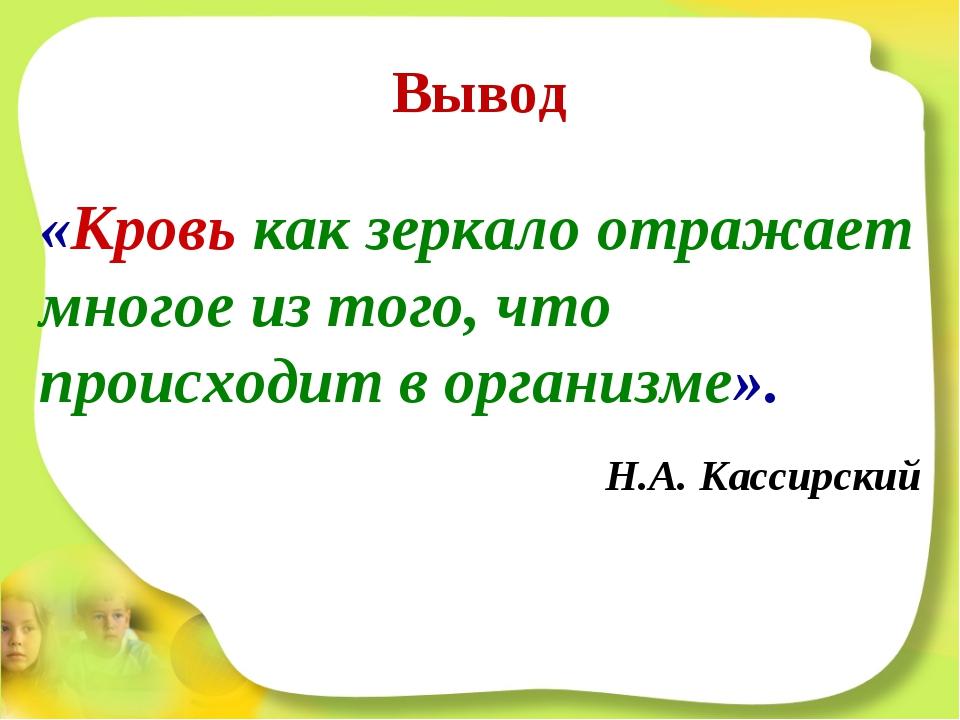 Вывод «Кровь как зеркало отражает многое из того, что происходит в организме»...