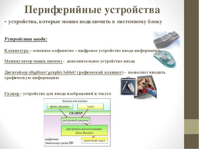 Устройства ввода: Клавиатура – основное алфавитно – цифровое устройство ввода...